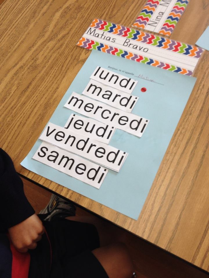 The day of the week in french